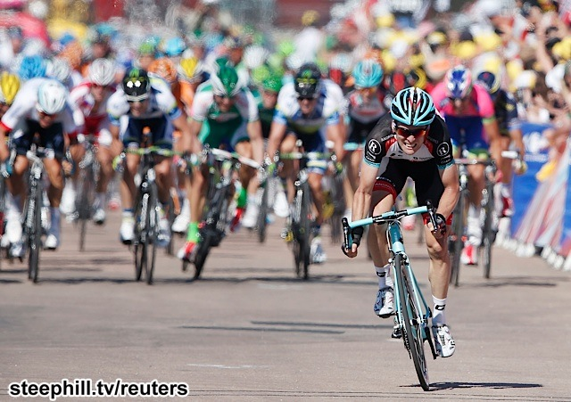 Radioshack-Leopard team rider Jan Bakelants of Belgium sprints to win the 156 km second stage of the centenary Tour de France cycling race from Bastia to Ajaccio